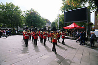 Pictured: The Welsh Guards parade in Castle Square, Swansea.  Friday 15 September 2017<br />