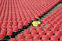 An African National Congress (ANC) supporter arrives early for the party's final Siyanqoba (victory) rally held at the Ellis Park Stadium in Johannesburg before the 2009 general election.