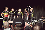 Mitchelton-Scott at the Team presentation of La Fleche Wallonne Femmes 2018 running 118.5km from Huy to Huy, Belgium. 17/04/2018.<br /> Picture: ASO/Thomas Maheux | Cyclefile.<br /> <br /> All photos usage must carry mandatory copyright credit (© Cyclefile | ASO/Thomas Maheux)