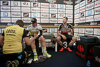race winner Dylan Groenewegen (NLD/LottoNL-Jumbo) post-race & 3rd placed Aidis Kruopis (LTU/WillemsVerandas) after the race in the media-tent<br /> <br /> Heistse Pijl 2016
