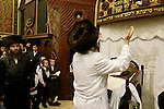 Israel, Bnei Brak. The Synagogue of the Premishlan congregation, Simchat Torah (on the eighths day of Succot), the Rebbe in front of the open Ark 2005<br />