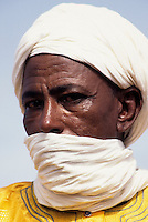 Niger - Tuareg Man, Veil Covering Mouth as is the Tuareg Custom.