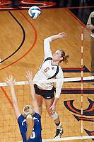 SAN ANTONIO, TX - OCTOBER 19, 2011: The Texas A&M University Corpus Christi Islanders vs The University of Texas at San Antonio Roadrunners Volleyball at the UTSA Convocation Center. (Photo by Jeff Huehn)