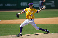 LSU Tigers pitcher Cody Glenn #24 delivers a pitch to the plate against the Auburn Tigers in the NCAA baseball game on March 24, 2013 at Alex Box Stadium in Baton Rouge, Louisiana. LSU defeated Auburn 5-1. (Andrew Woolley/Four Seam Images).