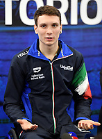 Roma 13-3-2019 Centro Federale di Ostia <br /> Swimmer Manuel Bortuzzo gestures during a meeting with the press. Manuel Bortuzzo was shot in the back due to a mistaken identity and is paralysed from the waist down since then. This is the first outing of Manuel from the hospital and the rehabilitation center.  <br /> Foto Andrea Staccioli / Deepbluemedia / Insidefoto