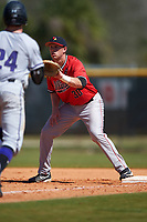 Illinois State Redbirds first baseman Brian Rodemoyer (30) during a game against the Northwestern Wildcats on March 6, 2016 at North Charlotte Regional Park in Port Charlotte, Florida.  Illinois State defeated Northwestern 10-4.  (Mike Janes/Four Seam Images)
