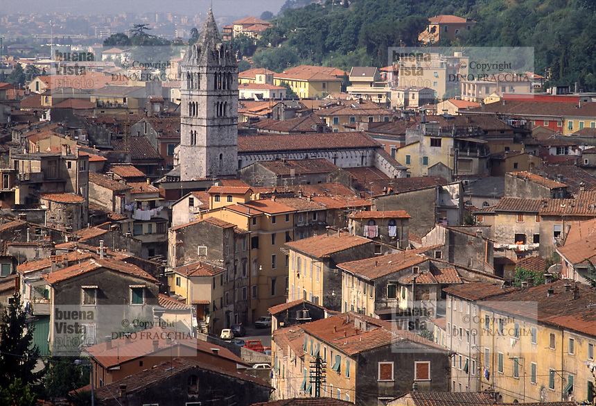 - Carrara, town panorama with Dome bell tower<br /> <br /> - Carrara, panorama della città con il campanile del Duomo