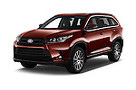 2018 Toyota Highlander SE 5 Door SUV Angular Front stock photos of front three quarter view