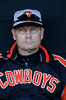 Oklahoma State Cowboys Head Coach Frank Anderson during a game against the Cal State Northridge Matadors at Matador Field on February 23, 2007 in Northridge, California. (Larry Goren/Four Seam Images)