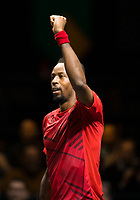 Rotterdam, The Netherlands, 15 Februari 2020, ABNAMRO World Tennis Tournament, Ahoy,<br /> Gaël Monfils (FRA) wins first set.<br /> Photo: www.tennisimages.com