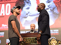 LAS VEGAS - JULY 17: Yordenis Ugas and Omar Figueroa attend the final press conference for the PBC on Fox Sports Pay-Per-View at the MGM Grand on July 17, 2019 in Las Vegas, Nevada. (Photo by Frank Micelotta/Fox Sports/PictureGroup)