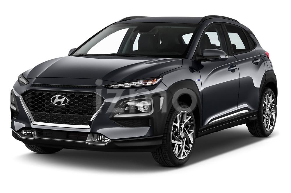 2020 Hyundai Kona Hybrid Sky 5 Door SUV angular front stock photos of front three quarter view