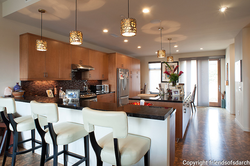 Bennett Residence--new construction. Kitchen is honey, gold and mahogany with plum accents. Japanese influence. Laurie Fisher, architect