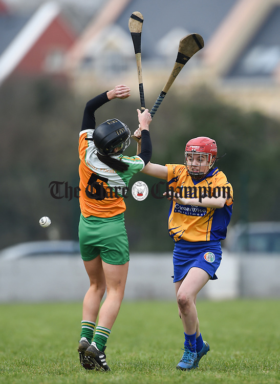 Marion Crean of Offaly in action against Grainne Nolan of Clare during their Div 1 League game in Corofin. Photograph by John Kelly.