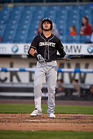 Charlotte Knights Matt Skole (21) bats during an International League game against the Syracuse Mets on June 11, 2019 at NBT Bank Stadium in Syracuse, New York.  Syracuse defeated Charlotte 15-8.  (Mike Janes/Four Seam Images)