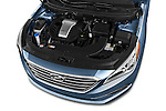Car Stock 2017 Hyundai Sonata Eco 4 Door Sedan Engine  high angle detail view