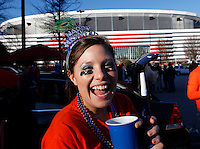 ATLANTA, GA - DECEMBER 31: Virginia Cavalier fans tailgate before  the 2011 Chick Fil-A Bowl game against the Auburn Tigers at the Georgia Dome on December 31, 2011 in Atlanta, Georgia. Auburn defeated Virginia 43-24. (Photo by Andrew Shurtleff/Getty Images) *** Local Caption ***
