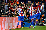Atletico de Madrid's player Yannick Carrasco, Saúl Ñígez and Lucas Hernández celebrating a goal during a match of La Liga Santander at Vicente Calderon Stadium in Madrid. October 29, Spain. 2016. (ALTERPHOTOS/BorjaB.Hojas)