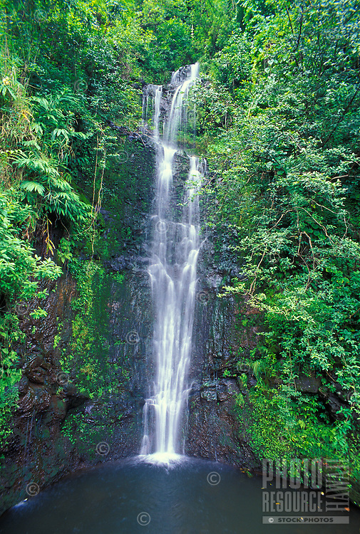 "This waterfall in Haleakala National Park at Kipahulu is also known as ""Seven Sacred Pools"" or Oheo Gulch."