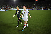 PASADENA, CALIFORNIA - August 03: Ashlyn Harris #18, Becky Sauerbrunn #4 during their international friendly and the USWNT Victory Tour match between Ireland and the United States at the Rose Bowl on August 03, 2019 in Pasadena, CA.