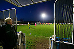 Stocksbridge's goal keeping coach watches by the tunnel as his team take a free kick in added time. Stocksbridge Park Steels v Pickering Town, Evo-Stik East Division, 17th November 2018. Stocksbridge Park Steels were born from the works team of the local British Steel plant that dominates the town north of Sheffield.<br /> Having missed out on promotion via the play offs in the previous season, Stocksbridge were hovering above the relegation zone in Northern Premier League Division One East, as they lost 0-2 to Pickering Town. Stocksbridge finished the season in 13th place.