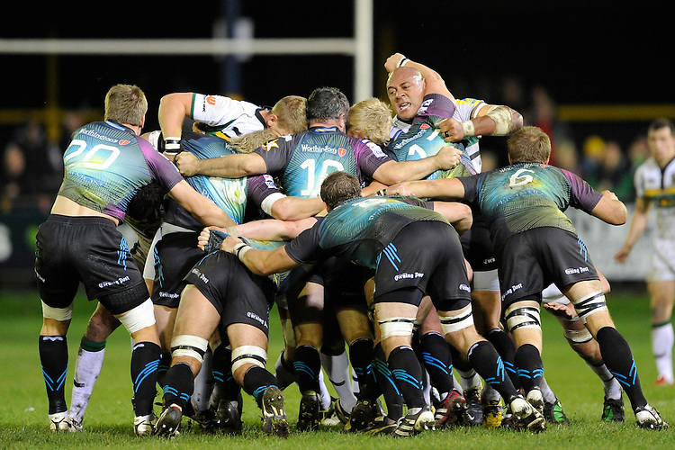 Soane Tonga'uiha of Northampton Saints (centre right) stands up in the scrum during the LV= Cup second round match between Ospreys and Northampton Saints at Riverside Hardware Brewery Field, Bridgend (Photo by Rob Munro)