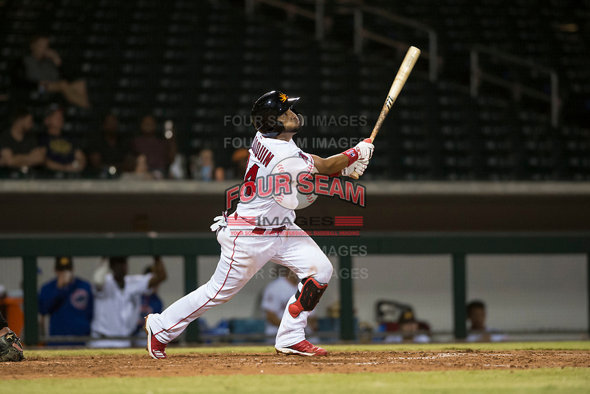 Mesa Solar Sox third baseman Roberto Baldoquin (24), of the Los Angeles Angels organization, follows through on his swing during an Arizona Fall League game against the Scottsdale Scorpions at Sloan Park on October 10, 2018 in Mesa, Arizona. Scottsdale defeated Mesa 10-3. (Zachary Lucy/Four Seam Images)