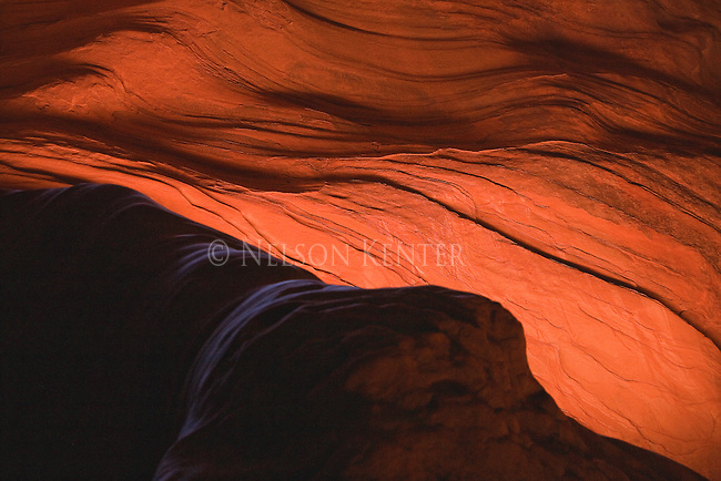 Light and shadows on the sandstone canyon walls in the Buckskin Gulch and Paria River slot canyons in Arizona and Utah