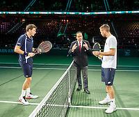 Rotterdam, The Netherlands, February 12, 2016,  ABNAMROWTT, Nicolas Mahut (FRA), Viktor Troicki (SBR)<br /> Photo: Tennisimages/Henk Koster