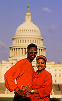 Black couple in love in front of The Capitol in Washington DC, USA