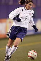 """Mia Hamm. The US Women's National Team tied the Denmark Women's National Team 1 to 1 during game 8 of the 10 game the """"Fan Celebration Tour"""" at Giant's Stadium, East Rutherford, NJ, on Wednesday, November 3, 2004.."""