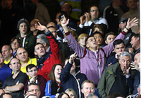 Liverpool, UK. Saturday 01 November 2014<br /> Pictured: Swansea supporters and fans<br /> Re: Premier League Everton v Swansea City FC at Goodison Park, Liverpool, Merseyside, UK.
