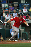Salem Red Sox infielder Drew Hedman #18 at bat during a game against the Myrtle Beach Pelicans at Tickerreturn.com Field at Pelicans Ballpark on May 11, 2012 in Myrtle Beach, South Carolina. Salem defeated Myrtle Beach by the score of 5-3 in 14 innings. (Robert Gurganus/Four Seam Images)