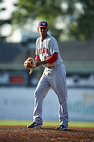Auburn Doubledays pitcher Jefry Rodriguez (29) gets ready to deliver a pitch during a game against the Batavia Muckdogs on July 10, 2015 at Dwyer Stadium in Batavia, New York.  Auburn defeated Batavia 13-1.  (Mike Janes/Four Seam Images)