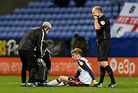 Bolton Wanderers' Harry Brockbank receives treatment <br /> <br /> Photographer Andrew Kearns/CameraSport<br /> <br /> The EFL Sky Bet League Two - Bolton Wanderers v Mansfield Town - Tuesday 3rd November 2020 - University of Bolton Stadium - Bolton<br /> <br /> World Copyright © 2020 CameraSport. All rights reserved. 43 Linden Ave. Countesthorpe. Leicester. England. LE8 5PG - Tel: +44 (0) 116 277 4147 - admin@camerasport.com - www.camerasport.com