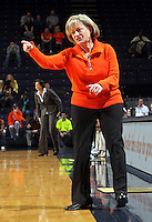 Jan. 6, 2011; Charlottesville, VA, USA; Virginia Cavaliers head coach Debbie Ryan reacts to a call during the game against the Miami Hurricanes at the John Paul Jones Arena.  Mandatory Credit: Andrew Shurtleff-