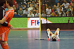 Leipzig, Germany, February 08: Austrian players are depressed after being defeated by The Netherlands 3-2 in the FIH Indoor Hockey World Cup gold medal match on February 8, 2015 at the FIH Indoor Hockey World Cup at Arena Leipzig in Leipzig, Germany. Final score 3-2 (2-1). (Photo by Dirk Markgraf / www.265-images.com) *** Local caption ***