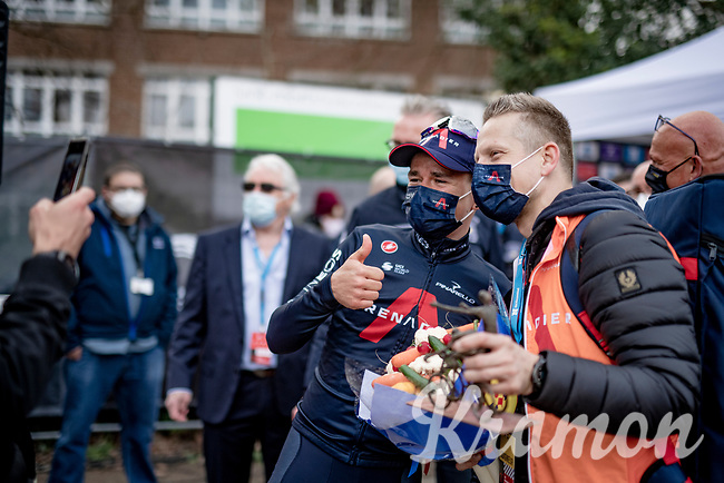 Tom Pidcock (GBR/Ineos Grenadiers) just won the 61st Brabantse Pijl 2021 (1.Pro) & happily poses for a pic with his soigneur<br /> <br /> 1 day race from Leuven to Overijse (BEL/202km)<br /> <br /> ©kramon