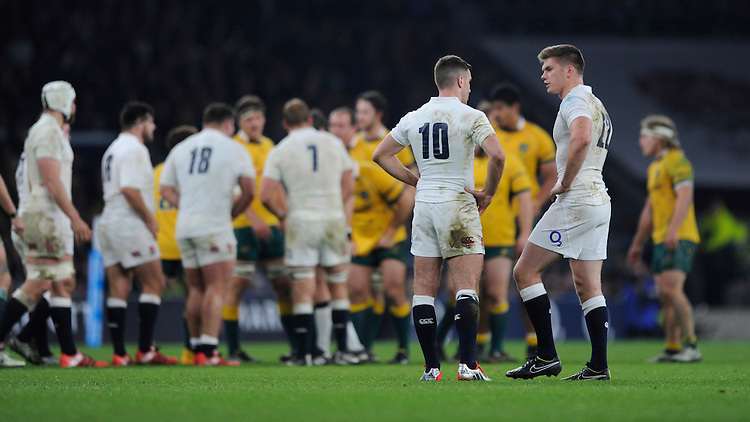 Owen Farrell (R) talks tactics with George Ford of England during the QBE International match between England and Australia at Twickenham Stadium on Saturday 29th November 2014 (Photo by Rob Munro)
