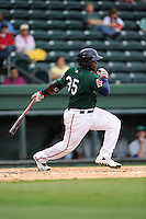 Leonel Escobar (35) of the Greenville Drive in a game against the Lexington Legends on Monday, August 18, 2013, at Fluor Field at the West End in Greenville, South Carolina. Greenville won Game 2 of a doubleheader, 1-0. (Tom Priddy/Four Seam Images)