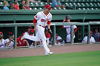 Second baseman Nick Yorke (4), 2020 Boston Red Sox first-round draft pick, is introduced for the first time at High-A with the Greenville Drive in a game against the Hickory Crawdads on Tuesday, August 24, 2021, at Fluor Field at the West End in Greenville, South Carolina. (Tom Priddy/Four Seam Images)