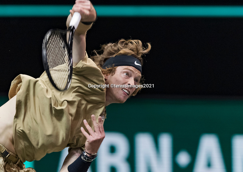 Rotterdam, The Netherlands, 2 march  2021, ABNAMRO World Tennis Tournament, Ahoy, First round :  Andrey Rublev (RUS)<br /> Photo: www.tennisimages.com/henkkoster