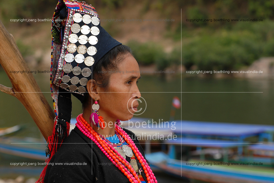 Lao PDR , woman of Akha tribe in Muang Khua at Nam Ou river , a branch of Mecong river / LAOS Mekong Region, <br /> Frau vom Akha Stamm in Muang Khua am Nam Ou Fluss , ein Zufluss des Mekong
