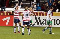Alex Morgan reacts after scoring her third goal of the first half. USWNT played played a friendly against Ireland at JELD-WEN Field in Portland, Oregon on November 28, 2012.