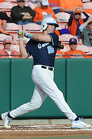 First Baseman Cody Stubbs #25 of the North Carolina Tar Heels swings at a pitch during a game against the Clemson Tigers at Doug Kingsmore Stadium on March 9, 2012 in Clemson, South Carolina. The Tar Heels defeated the Tigers 4-3. Tony Farlow/Four Seam Images.