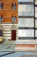 Siena:  Duomo detail--green and white marble banding.  Photo '83.