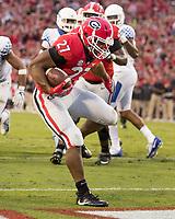 Athens, GA - November 18, 2017: The number 7 ranked Georgia Bulldogs host the Kentucky Wildcats at Sanford Stadium.