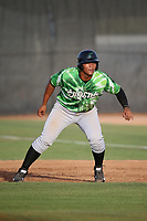 Gustavo Polanco (40) of the Eugene Emeralds leads off of first base during a game against the Salem-Keizer Volcanoes at Volcanoes Stadium on July 24, 2017 in Keizer, Oregon. Eugene defeated Salem-Keizer, 7-6. (Larry Goren/Four Seam Images)