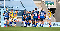 13th September 2020; AJ Bell Stadium, Salford, Lancashire, England; English Premiership Rugby, Sale Sharks versus Bath;  Rohan Janse van Rensburg of Sale Sharks is congratulated by fellow players after scoring the opening try for Sale in the 3rd minute, 7-0 Sale