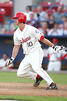 July 21st 2008:  Kyle Higgins of the Spokane Indians, Short Season Class-A affiliate of the Texas Rangers, during a game at Home of the Avista Stadium in Spokane, WA.  Photo by:  Matthew Sauk/Four Seam Images